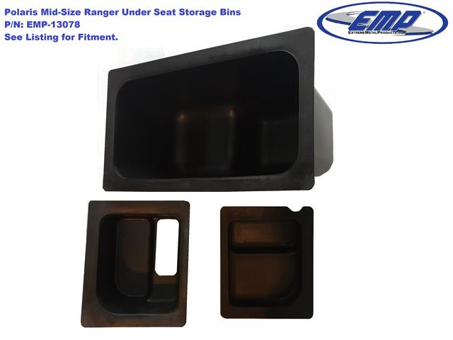 EMP Mid Size Polaris Ranger Under Seat Storage Bin Set (fits: PRO FIT Cage  Model, 50u201d Wide)