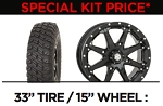 33X10R-15 Chicane RX DOT Rated Tires on 15X7 4/156 5+2 HD10 Gloss Black Wheels